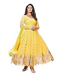 Clickedia Beautiful Yellow Anarkali Semi-sticthed Anarkali Suit With Silver Work-pammi Yellow