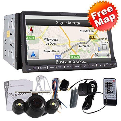 """Ad alta definizione da 7 pollici In Dash 2 DIN autoradio lettore DVD GPS di navigazione 3D Bluetooth doppio Baccano 2 7 """"HD GPS Navi Radio TV BT RDS iPod Car Stereo DVD lettore CD + CAMERA"""