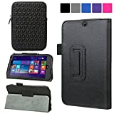 Evecase HP Stream 7 Case (Model 5701/ 5709 ), SlimBook Leather Folio Stand Case Cover w/ Neoprene Sleeve for HP Stream 7 5701 Tablet 32GB / HP Stream 7 Microsoft Signature Edition 32GB 7-inch Windows 8.1 Tablet - Black
