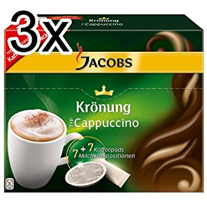 Buy Jacobs Krönung Cappuccino, Pack of 3, 3 x 7 Coffee Pods + Topping from Kraft Foods