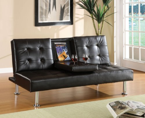 Furniture of america farrah modern leatherette futon sofa for Cheap modern furniture usa