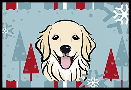 Caroline's Treasures BB1701MAT Winter Holiday Golden Retriever Indoor or Outdoor Mat, 18 by 27