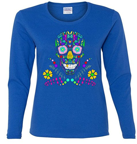 Day of The Dead Skull Flower Glasses Missy Fit Long Sleeve T-Shirt Red Small WLTTP9879468