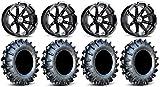 "Bundle - 9 Items: MSA Black Diesel 14"" ATV Wheels 30"" MotoBoss Tires [4x110 Bolt Pattern 10mmx1.25 Lug Kit]"