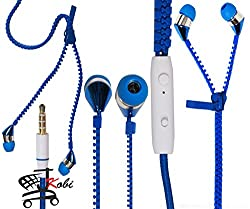 New Designed Zipper Style In Ear Bud Earphones Handsfree Compatible For Panasonic P55 Novo 16GB -Blue