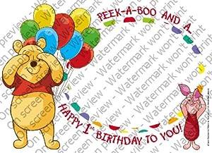 1/8 Sheet ~ Pooh Peek a Boo Photo Frame ~ Edible Image Cake/Cupcake Topper!!!