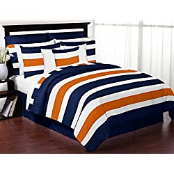 Sweet Jojo Designs Navy Blue, Orange and White Childrens, Teen 3 Piece Full / Queen Boys Stripe Bedding Set Collection