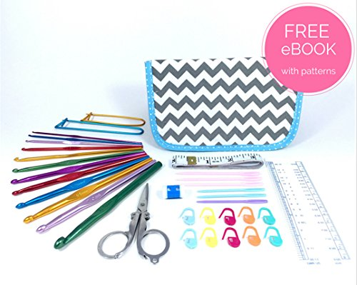 ULTIMATE CROCHET KIT with Crochet Hook Set, Great for Beginners, Fanatics and Newbies Just Learning – This Crochet Hook Set and Kit Includes a Crochet Hook Set, Stitch Markers, Scissors, Yarn Needles, Measuring Tape, Safety Pins, Ruler, Gauge Measure and Row Counter. Everything you need to Crochet your perfect pattern. (Grey Chevron Pattern)
