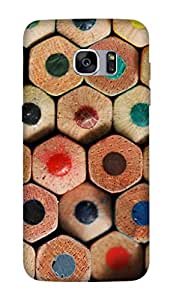 Flauntinstyle colorful pencils Hard Back Case Cover For Samsung Galaxy S7 edge
