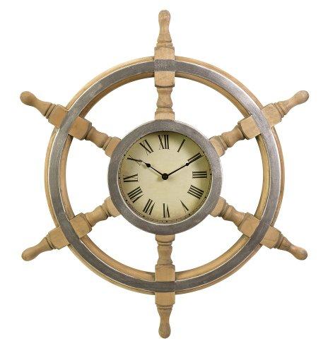 Wood Ship Wheel 26-in. Wall Clock [Kitchen] PNo: 47243