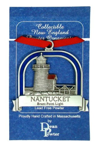 Brant Point Lighthouse Nantucket Ornament on Ribbon