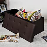 "Songmics Faux Leather Folding Storage Ottoman Toy Chest Shoe Bench Hope Chest Brown Versatile Space-saving 43 1/4""L ULSF703"