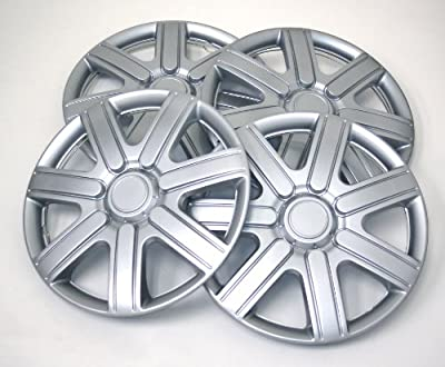 TuningPros WSC-221S14 Hubcaps Wheel Skin Cover 14-Inches Silver Set of 4