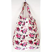 Trendy Sturdy Shopping Tote Bag - Roses Pattern