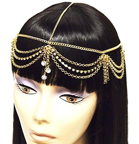 Gold Tone Womens Rhinestone Accent Draped Head Chain Jewelry