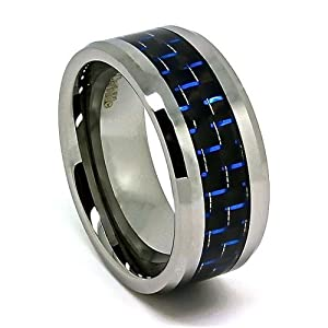 Extra Wide 10mm Tungsten Carbide Wedding Band with Black and Blue Carbon Fiber Inlay (10.5)