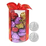 Chocholik's New Luxury Round Chocolate Box With 5gm X 2 Pure Silver Coins - Gifts For Diwali