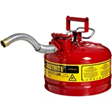 "Justrite AccuFlow 7225130 Type II Galvanized Steel Safety Can with 1"" Flexible Spout, 2.5 Gallons Capacity, Red"