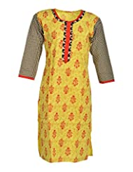 Global Women's Cotton Straight Kurta (GW58Yellow42015, Yellow, 42)