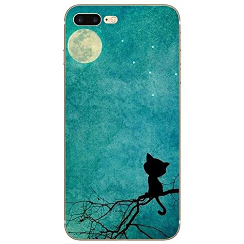 """Yoowei® iPhone 7 Case, Cute Cartoon Pattern Design Ultra Slim Crystal Clear Silicone Gel Soft TPU Cover Jelly Protective Bumper Back for iPhone 7 4.7"""", Animal Series Moonlight cat"""