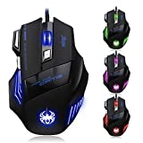[New Version] Zelotes 7200 DPI 7 Buttons LED Optical USB Wired Gaming Mouse Mice for Gamer PC MAC (Color: 7200DPI, Tamaño: set)
