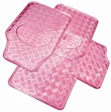 PINK METALLIC CHECKER PLATE STYLE RUBBER CAR FLOOR MAT/MATS SET CHEX