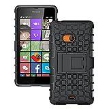 Cubix Defender Series Dual Layer Hybrid TPU + PC Kickstand Case Cover For Microsoft Lumia 540 Dual SIM (Black)