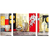 Painting Mantra Red, White And Black Canvas Painting- Pack Of 3 (30 X 20 X 0.5 Inches)