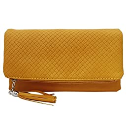 BMC Womens Bright Orange Textured PU Faux Leather Quilted Pattern Triple Compartment Zipper Tassel Fashion Clutch Handbag