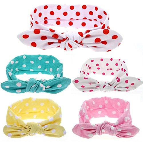 Gintan Baby Girls' Polka Dot Print Bow Headband (5 Pack)