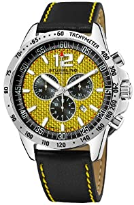"""Stuhrling Original Men's 210A2.331518 """"Octane Concorso Corale"""" Stainless Steel Watch with Black Leather Strap"""