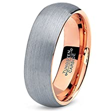 buy 7Mm Tungsten Carbide 18K Rose Gold Plated Domed Brushed Wedding Band Men'S Women Ring In Comfort Fit Finish Fit Size 5-16 Lifetime Guarantee Free Shipping (5.5)