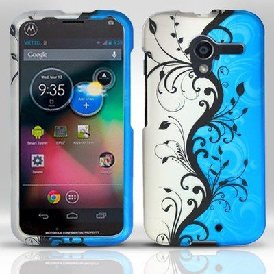 Cell Phone Case Cover Matte Snap On for Motorola Moto X - Silver & Blue Vines [In CellCostumes Retail Packaging]