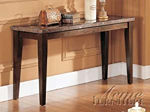 Sofa Table with Marble Top in Espresso Finish