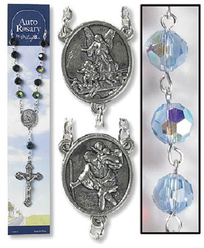 Gifts of Faith Auto Rosary for Car Truck or SUV Crystal Sapphire Blue (Crystal Auto Rosary compare prices)