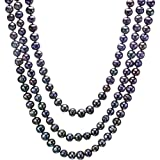 "HinsonGayle Handpicked Ultra-Iridescent 9-11mm Multicolored Black Circlé Baroque Cultured Pearl Rope Necklace (DIVA Collection, 65"")"