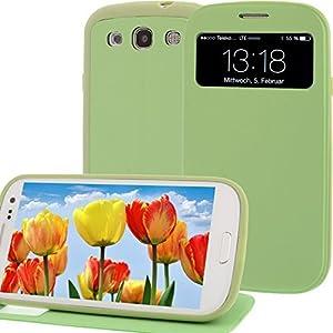 Flip Cover für Samsung Galaxy S3 i9300 SIII Tasche Display-Klappe Akkudeckel Hülle Case Schutz Etui Grün