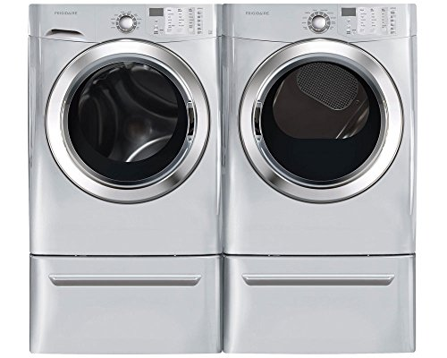 "Frigidaire Silver Front Load Laundry Pair with FFFS5115PA 27"" Washer, FFSG5115PA 27"" Gas Dryer and 2 CFPWD15A Pedestals in Silver"