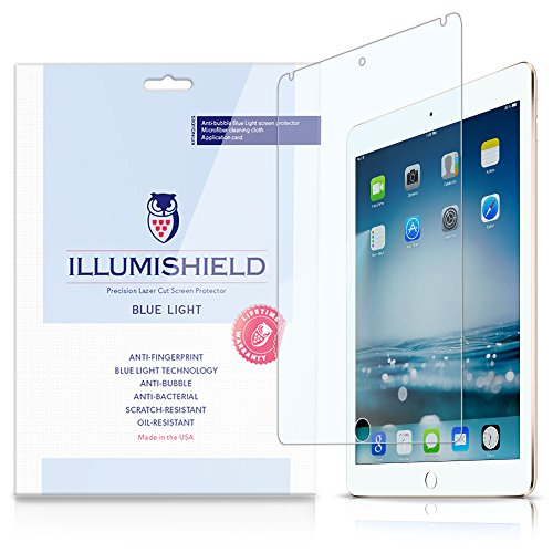 Illumishield - Apple Ipad Air 2 Screen Protector (2014) (6Th Generation) With Hd Blue Light Uv Filter And Lifetime Replacement Warranty / Premium High Definition Clear Film / Reduces Eye Fatigue And Eye Strain - Anti- Fingerprint / Anti-Bubble / Anti-Bact
