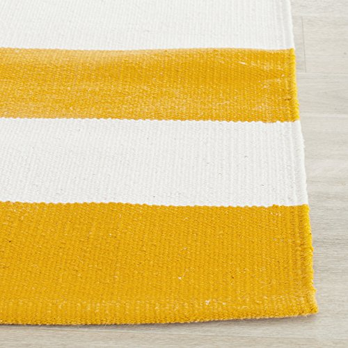 Safavieh Montauk Collection MTK712A Hand Woven Yellow and Ivory Cotton Runner, 2 feet 3 inches by 6 feet (2'3