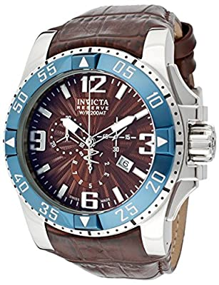 Invicta Men's 10912 Reserve Excursion Swiss Chronograph Brown Dial Leather Watch