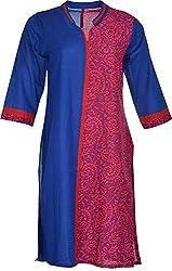 Artisan Women's Cotton Straight Kurta (CZF10004_XXL, Blue & Red, XXL)