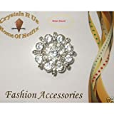 35mm Clear Round Brooch Broach Pin Badge Crystal Diamante Wedding Bridal Bouquet