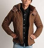 (バレッタ) Valletta ニット編み フード付 中綿 ジャケット ニットジャケット 防寒 暖かい ブルゾン パーカー メンズ カジュアル ストリート アメカジ キャメル Sサイズ