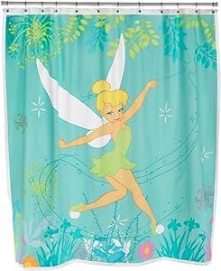 Tinkerbell vinyl shower curtain curtains for bathroom shower kids