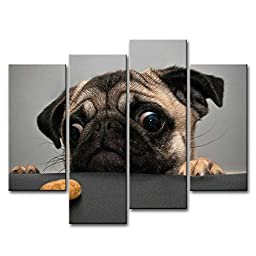 So Crazy Art 4 Piece Wall Art Painting Crazy Pug Prints On Canvas The Picture Animal Pictures Oil For Home Modern Decoration Print Decor