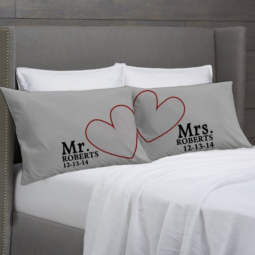 Modern Hearts Mr & Mrs Pillowcases (Charcoal, Standard) Personalized For Him For Her Engagement Wedding Gift - Anniversary Pillow Cover Lovers Couples Pillowcases front-1023230