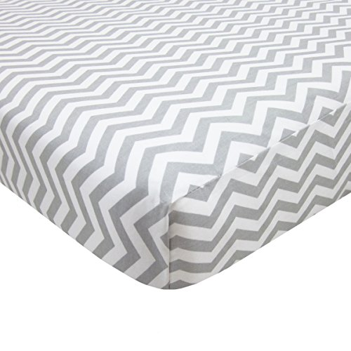 American Baby Company 100% Cotton Percale Fitted Portable/Mini Crib Sheet, Zigzag Grey (Mini Crib Fitted Sheet compare prices)
