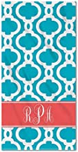 Monogram Tile Retro Pattern Turquoise Beach Towel