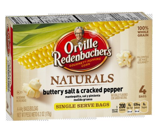 Orville Redenbacher&#8217;s Gourmet Microwavable Popcorn, Naturals, Buttery, Salt and Cracked Pepper, 4-Count Mini Bags (Pack of 12)